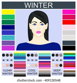 Stock vector Seasonal color analysis palette for clear, cool and deep winter. Set of three winter types of female appearance and face of young woman