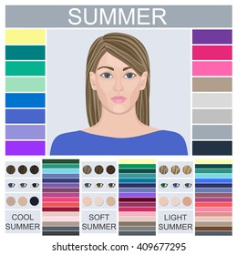 Stock vector Seasonal color analysis palette for soft, cool and light summer. Set of three summer types of female appearance. Face of young woman