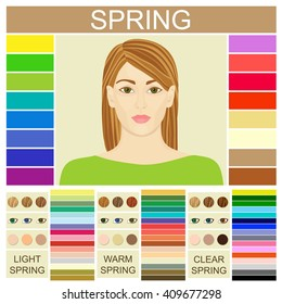 Stock vector Seasonal color analysis palette for light, warm and clear spring. Set of three spring types of female appearance. Face of young woman