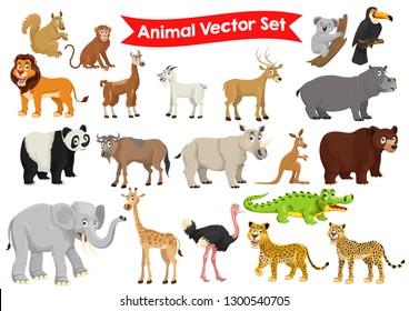 stock vector set of animals cartoon graphic illustration