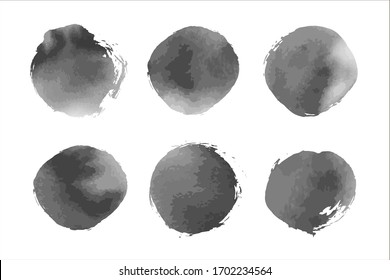 Stock vector set of black and white ink spots with watercolor textute. For digital brushes, abstract backgrounds, monochrome design. Isolated elements and hand drawn imitation.  Smoky backdrop.