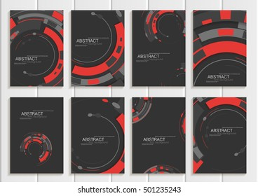 Stock vector set of brochures in abstract style. Design business templates with round, rectangular shapes on dark gray backgrounds for printed materials, elements, web sites, cards, covers, wallpaper