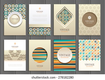 stock vector set of brochures in vintage style design templates frames and backgrounds. Use for printed materials, signs, elements, web sites, cards
