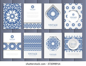 Stock vector set of brochures in vintage style. Design templates navy blue floral frames, ornaments, patterns and white backgrounds. Use for printed materials, signs, elements, web sites, cards