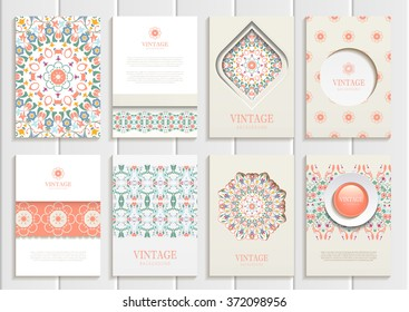 Stock vector set of brochures in vintage style. Design templates pastel, Orange floral frames, ornaments, patterns and beige backgrounds. Use for printed materials, signs, elements, web sites, cards