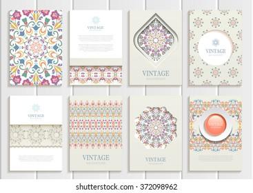 Stock vector set of brochures in vintage style. Design templates light pastel color palette floral frames, ornaments, patterns, backgrounds for printed materials, signs, elements, web sites, cards