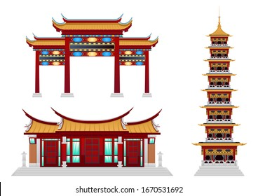 stock vector set of buddhist monastery. house of worship, buildings and landmarks, architectural concept flat vector illustration