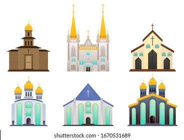 stock vector set of christian, catholic church or cathedrals building. house of worship, architectural concept flat vector illustration