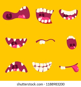 Stock vector set with different monsters mouths smile, surprise, sadness and other grimaces