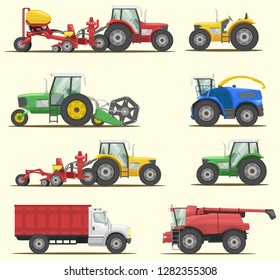 stock vector set farm machinery, agricultural industrial equipment vehicles and farm machines, tractors and truck graphic object illustration