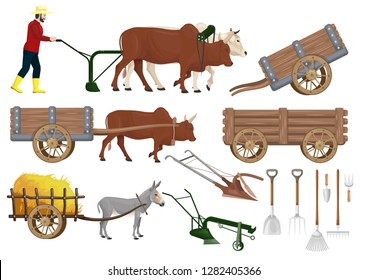 stock vector set farm traditional farm, agricultural equipment graphic object illustration