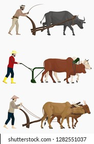 stock vector set of farmers plow the field with oxen, cattle, and carabao graphic object illustration isolated on the white background
