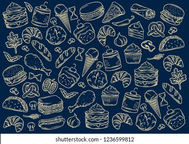stock vector set of fast food in hand drawing style banner object illustration in blue background