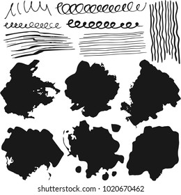 Stock vector set grunge textured black ink brush strokes for your design