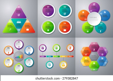 Stock Vector set of infographics. Templates for options 4 and 6. Timeline Template