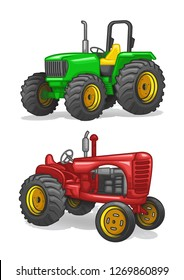 stock vector set of old and modern tracktors collection graphic object illustration