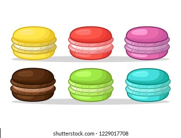 stock vector set of sweet dessert and colourful french cartoon macarons on white background