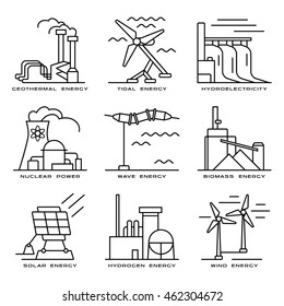 Stock vector set of web icons on electricity generation plants and sources. Illustration in thin line style