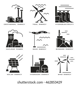 Stock vector set of web icons on electricity generation plants and sources. Black print on white background