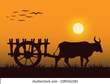 stock vector silhouette cattle pull a wooden cart graphic object illustration
