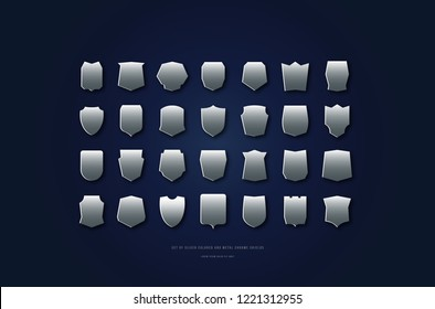 Stock vector silver colored and metal chrome shields silhouettes. Graphic design backgrounds for logo and emblems
