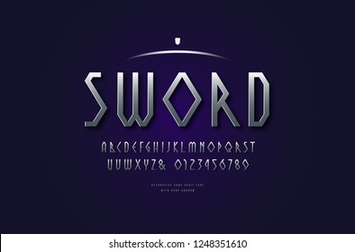 Stock vector silver colored and metal chrome geometric sans serif font, alphabet, typeface. Letters and numbers for movie, viking and game logo design