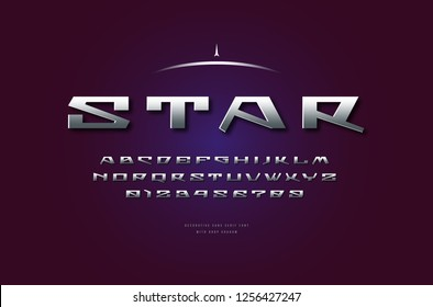 Stock vector silver colored and metal chrome geometric sans serif font, alphabet, typeface. Letters and numbers for sci-fi, military, space logo and title design in futuristic style