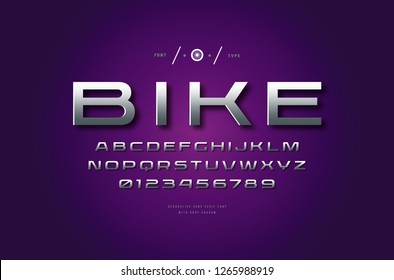 Stock vector silver colored and metal chrome extended sans serif font, alphabet, typeface. Letters and numbers for logo and headline design