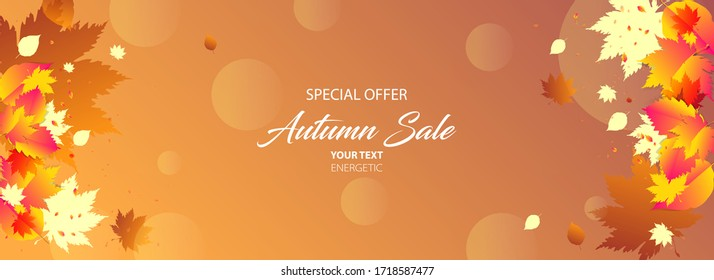 Stock vector simple minimalistic autumn background orange yellow. Stylish leaves scattered around the background, use for design text or social media