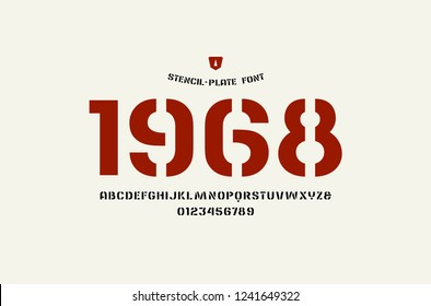 Stock vector stencil-plate sans serif font, alphabet, typography. Letters and numbers for logo and headline design. Isolated on white background