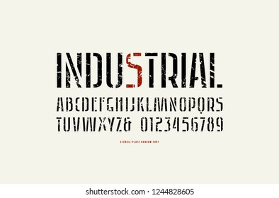 Stock vector stencil-plate sans serif narrow font, alphabet, typography. Letters and numbers with rough texture for logo and label design. Print on white background