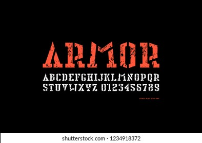 Stock vector stencil-plate serif font in military style. Letters and numbers with rough texture for logo and title design. Print on black background