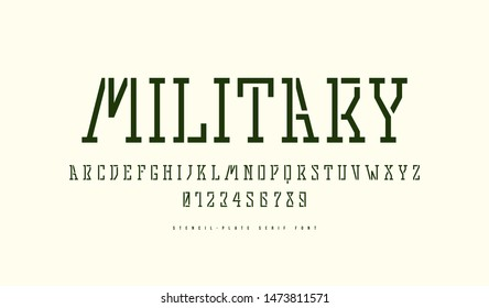 Stock vector stencil-plate slab serif font in military style. Letters and numbers for logo design. Isolated on white background