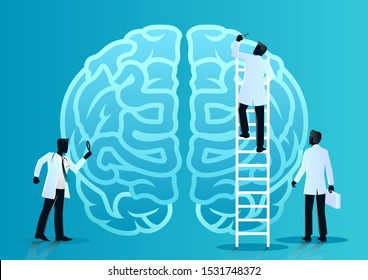 stock vector of team of doctors diagnose human brain. medical and health care concept. vector illustration background.