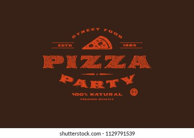Stock vector template of pizzeria label. Design with rough texture. Red print on dark background