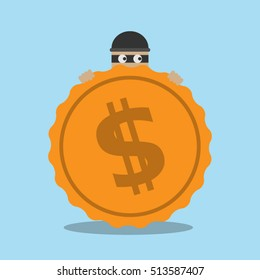Stock Vector of thief. Bad thief wear black suite and mask holding a bag of money in his hands. He laughing. Flat Character design vector illustration. thief. thief. thief. thief. thief. thief. thief.