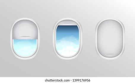 stock vector of three realistic portholes of airplane from white plastic with open and closed window shades