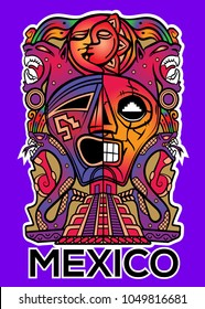 Stock vector totem mask of maya. Mexican style.
