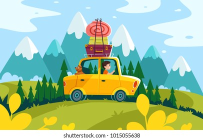 stock vector travelling composition with the car summer holidays horisontal