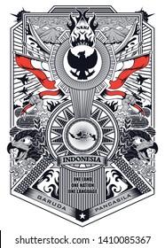 stock vector vintage frame of garuda pancasila indonesia illustration