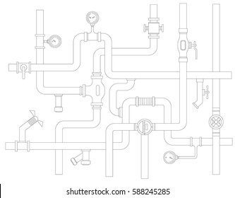 Stock vector ware pipes system concept flat vector illustration.
