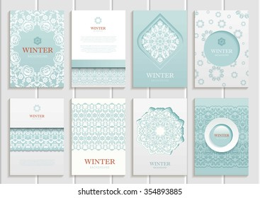 stock vector winter set of brochures in vintage style design templates frames and backgrounds. Use for printed materials, signs, elements, web sites, cards, cover, corporate identity