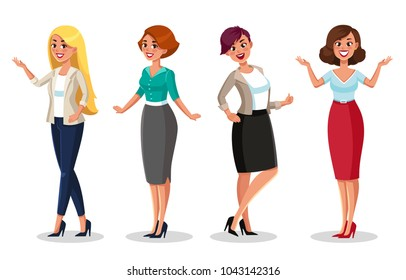stock vector woman dresscode vector illustration beautiful women-in different outfits icons
