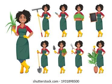 Stock vector young African American gardener woman, set of nine poses. Beautiful lady farmer cartoon character