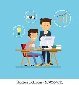 Stock vector of young businessman working with team on creative idea project for analyzing company financial strategy. Concept picture for office and business project plan.