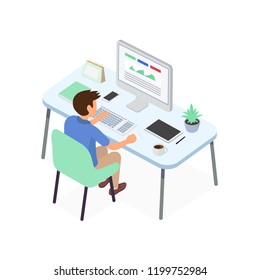 Stock vector of young businessman working with creative idea project for analyzing company financial strategy. Concept for office graphic designer and business project plan.