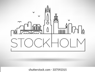 Stockholm City Line Silhouette Typographic Design