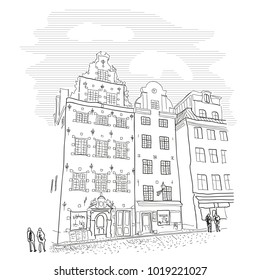 Stockholm. Gamla Stan. Old town view. Vector line style illustration. Suitable for packaging.