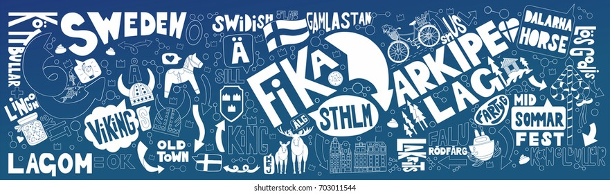 Stockholm in hand drawn doodle. Horizontal smooth background with white elements. Good for souvenirs from Sweden - typical swedish words, holidays and traditions.