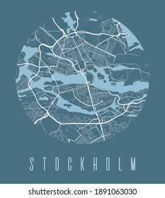 Stockholm map poster. Decorative design street map of Stockholm city. Cityscape aria panorama silhouette aerial view, typography style. Land, river, highways. Round circular vector illustration.